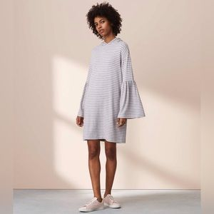 Lou And Grey Striped Bell Sleeve Hoodie Dress